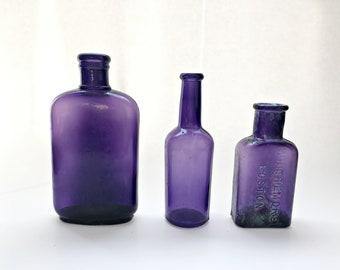 3 Vintage Purple Bottles Antique Purple Embossed Bottles Dug Rustic Bottle Vases