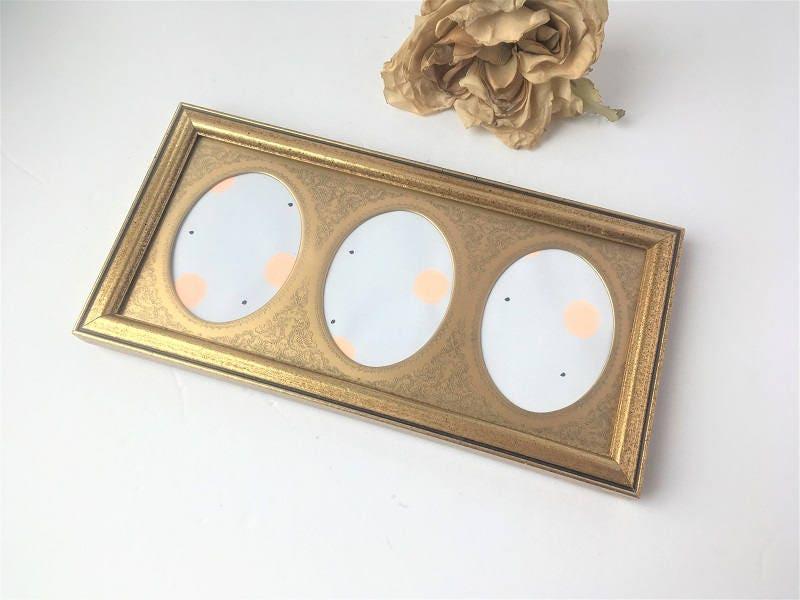 Burnes Vintage Gold Wood Frame w Metal 3 Oval Mat / Wood Photo