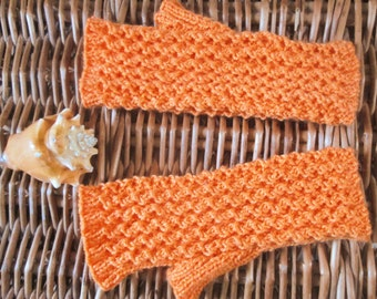 Womens ladies teen girls wristwarmers fingerless gloves handwarmers mitts handknit with bright jaffa orange lacy lace cotton cashmere yarn