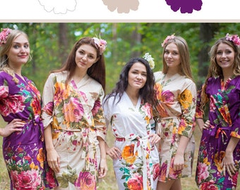 Eggplant, Beige and White Wedding Color Bridesmaids Robes