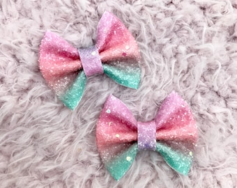 Cotton Candy mini brooke bow pigtail set