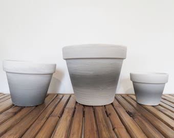 ombre planters grey to white