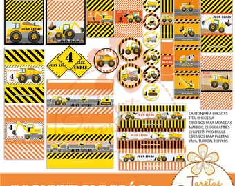 Construction Kit of printable labels for candy bar for parties