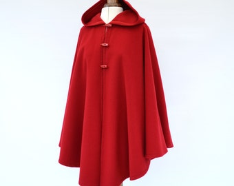 Red Wool Cashmere Cape, Wool Hooded Cape, Red Hooded Cloak, Cashmere Cape Coat, Red Hooded Poncho, Winter Coat