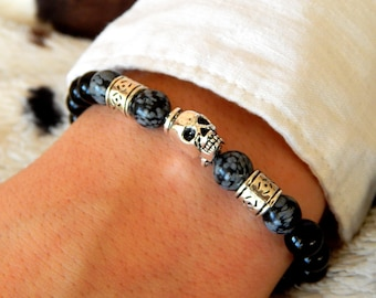 Snowflake obsidian and black tourmaline gemstones and silver with a skull men bracelet