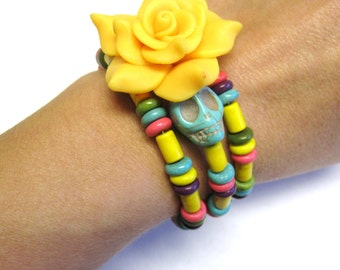 Day Of The Dead Bracelet Sugar Skull Jewelry Wrap Purple Blue Green Pink Yellow Rose