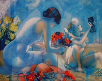Jean-Baptiste VALADIE: Breeze blue, mother and daughter - original lithograph