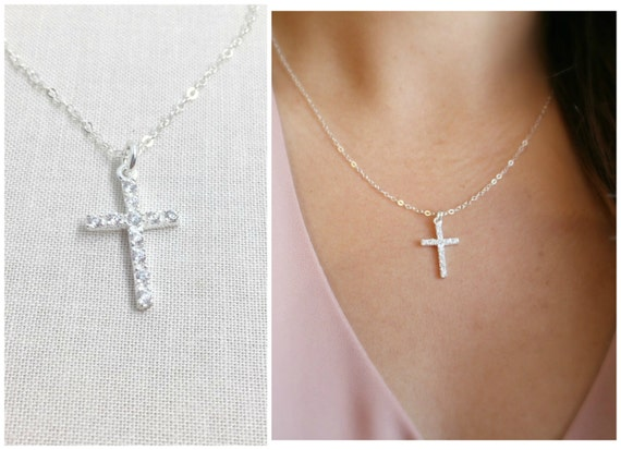 Cz cross necklace encrusted cz cross necklace diamond mozeypictures Choice Image