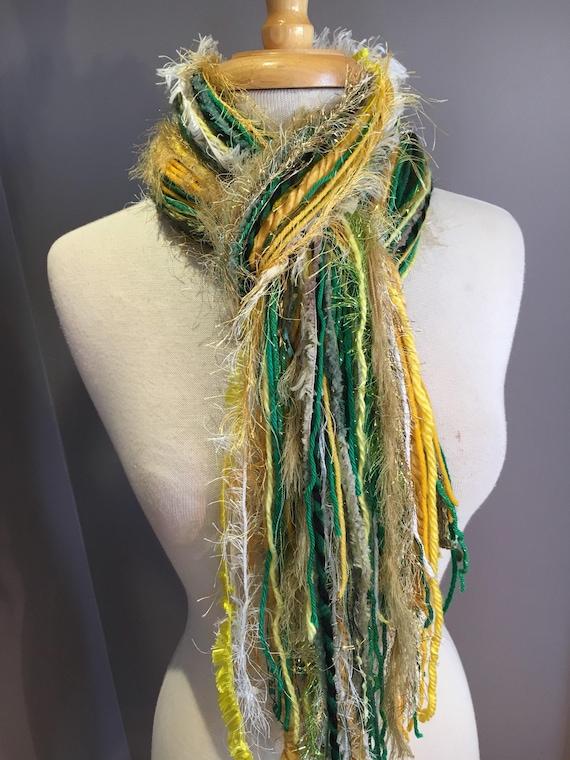 Green and Gold Fringie/ Fringie in Packer, Brazil, Baylor - Fringe Handmade Scarf, Green Bay Packer Colors, Green gold white