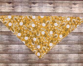 Dog Bandanas, mustard yellow dandelion print, AspenandPiper, tie on bandana
