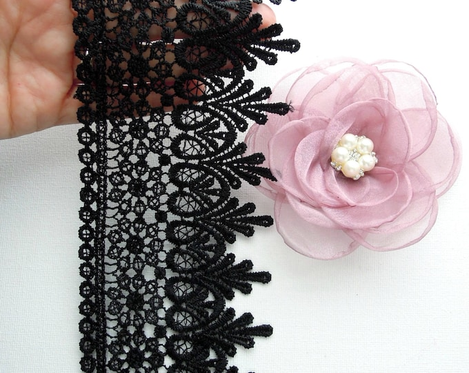 1 yrd Black venise lace by the yard - Black wide lace trim for lace crowns - Goth lace trim , bags and clutches, victorian costumes, hats