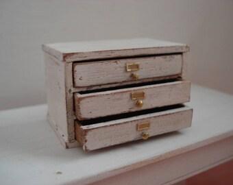 Dollshouse miniature furniture, one inch 1:12 scale chest of drawers, dollshouse furniture,  house office furniture