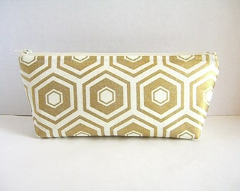 Metallic Gold and Cream Clutch - Bridesmaid Makeup Bag - Gold Wedding Clutch - Gold Bridesmaid Clutch - Gold Hexagons Clutch - Gold Pouch
