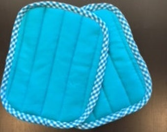 Two Teal Homemade Pot Holders