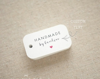 Handmade By Personalized Gift Tags - Handmade with Love Tags - Etsy Product Tags - Etsy Shop Labels - Set of 30 (Item code: J564)