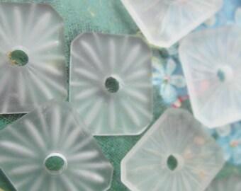 12 Antique Lalique Style Camphor Glass Beads
