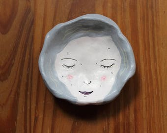 Clay Face Dish | Blue Hair | Trinket Dish | Ring Dish | Gift | Quirky |