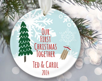 Our First Christmas Ornament Personalized Christmas Ornament Bridal Shower Gift Christmas Gift Custom 2014 Wedding Keepsake OR101