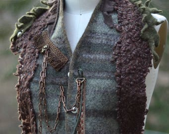 Unisex Steampunk Wrap/ vest, OOAK military style wool accessory, boho earthy colors vest. One size fits all