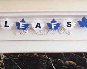 "6 Foot - Toronto Maple Leafs Inspired ""Go Leafs Go"" Banner -  3.5"" Maple Leaf"