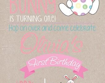 Bunny Birthday Kraft Invitation, Bunny Party, Easter Birthday Invitation, Easter Bunny Invitation, Birthday Invitation,First Birthday