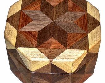 Walnut Bubinga Hackberry Octagon Box
