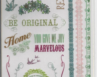 K & Company ~ Classic K Margo Ornaments and Words Rub-ons ~NIP