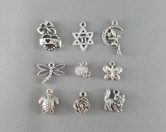 Antique Silver Charms Bracelet Charms Metal Charms Tibetan Silver Charms Jewelry Supplies Jewelry Findings Charm Bracelet Gift for Her Him