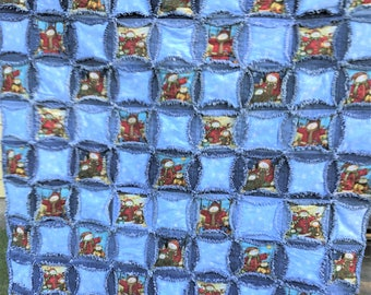 """Upcycled Denim Circle and Snowman Fabric Rag Quilt 39""""x39"""" Lap Rag Quilt Throw Wall Hanging Snowmen Upcycled Denim"""