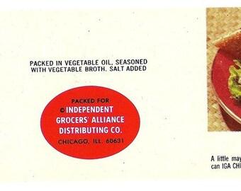 IGA Vintage Family Size Vintage Tuna Label, 1970s
