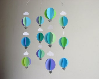 """Hot Air Balloon Baby Mobile """"Earthsea"""" - Baby Boy Mobile - Baby Shower Gift - Gender Neutral Mobile - Crib Mobile - Balloon Decorations"""