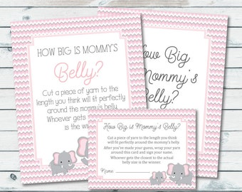How Big Is Mommy's Belly Printable Sign And Cards, Pink And Gray Elephant Baby Shower Games, Belly Game Sign, Elephant Belly Guessing Game