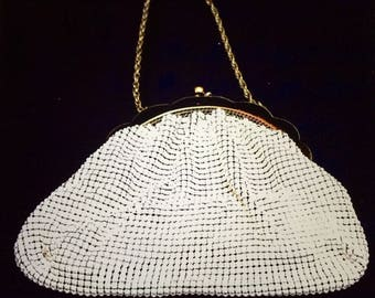 Vintage Art Deco Whiting and Davis White Metal Link Purse