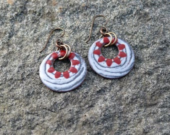 Torch fired enamel Earrings,snowstorm