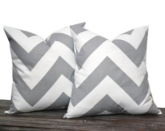 """18"""" Grey Chevron Zig Zag Pillow Set - Set of 18 x 18 Inch Large Zig Zag Pillow Covers - Grey and White - TWO PILLOW COVERS"""