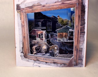 Miniature Tunnel Book of Mojave Desert Trash and Bones, limited edition Artist's Book