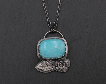 Amazonite and Sterling Silver Necklace with Leaf and Flower, Sterling Silver Metalwork, One of a Kind Necklace
