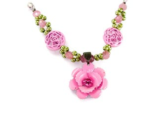 Fancy Child's Necklace Pink Flowers Green Beads, And Pink Filigree