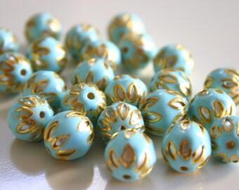 SALE Sky Blue spheres - Floral Cloisonné Meena beads (2) 13mm