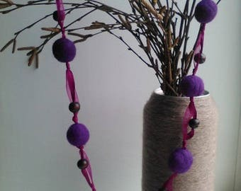 WOOL BEADS Felted Purple Beads, Felted Necklace, Felted Accessory, Gifts for Her, Needle Felted Beads, purple Neclace, purple Beads