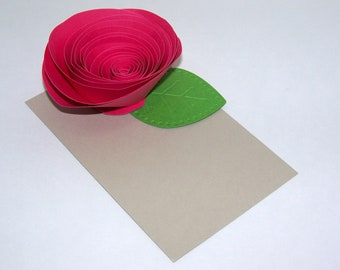 Bright Pink Paper Roses on Tan Place cards - Set of 5