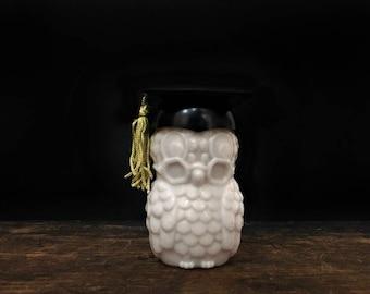 Vintage Owl Bottle, Milk Glass, Avon Perfume Bottle, Dr. Hoot, Sweet Honesty Cologne, Graduation Gift, Cap and Gown