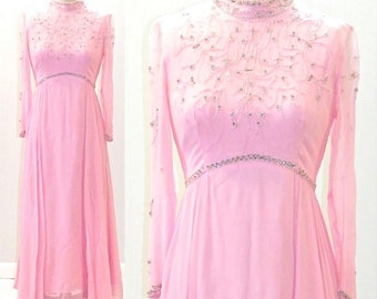 1960s Evening Dress, Vintage 60s Beaded Dress, 1960s Prom Dress, Pink Chiffon Gown