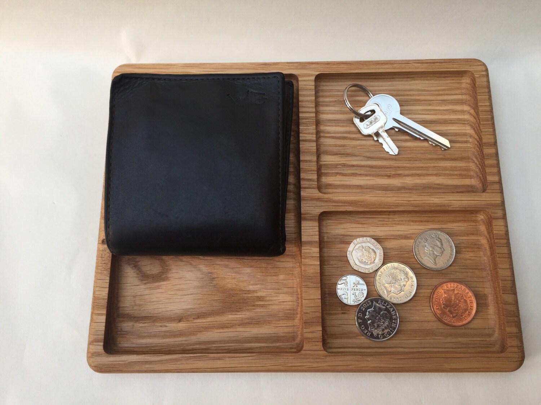 Man Tray Valet Tray Coin Tidy Solid Oak Organiser
