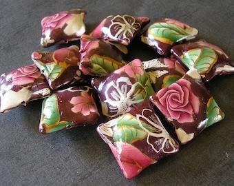 Purpurrot, Perlen, rote Rose Kissen Perlen, Fimoperlen, 12 Stücke - auf Bestellung