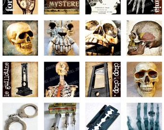 """ANATOMIC SQUARES - Digital Printable Collage Sheet - Vintage Anatomy, Guillotines, Skulls & X-Rays, Halloween, 1"""" Square or Scrabble Tile"""