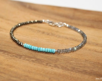 Sleeping Beauty Turquoise, Labradorite & Pyrite Bracelet, Sleeping Beauty Turquoise Jewelry, December Birthstone