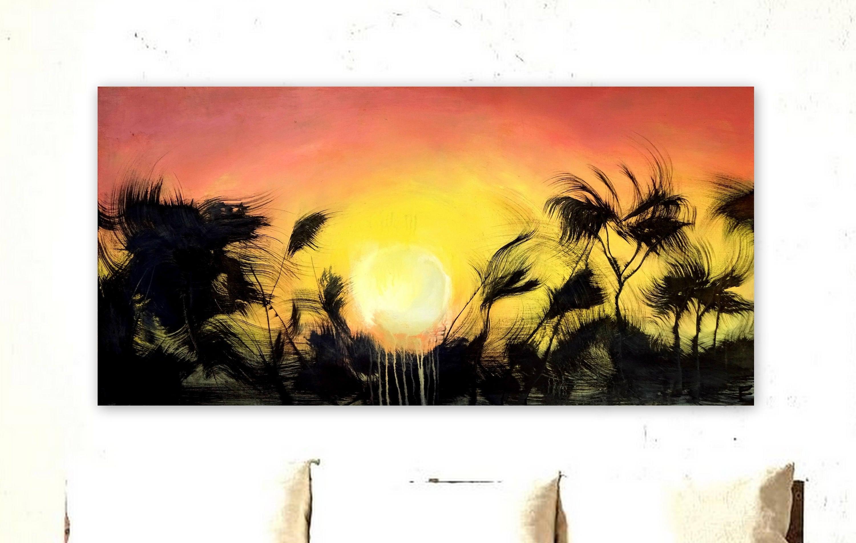 Sunset Painting Large Tropical Botanical Landscape