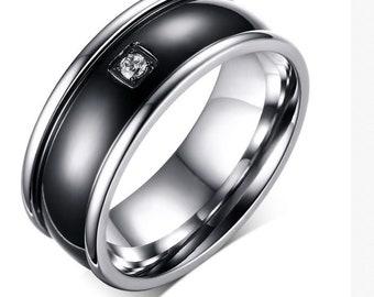 men's wedding or engagement ring black size 12