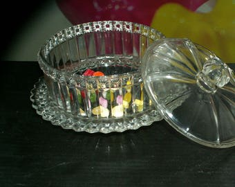 Vintage glass box with lid/bowl 1950s